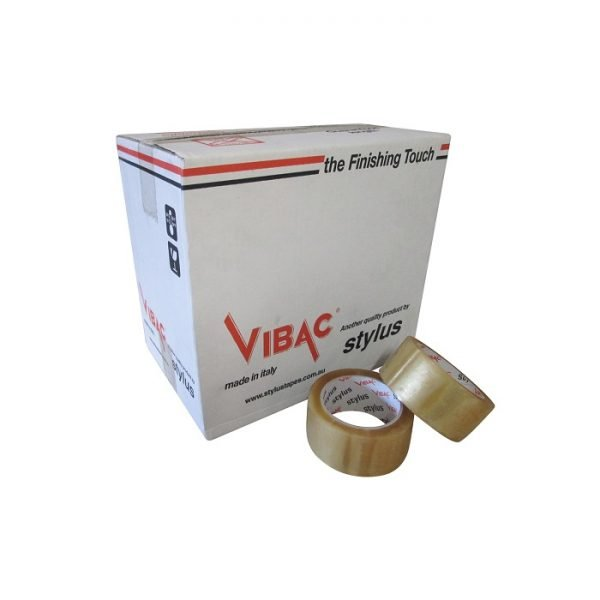 Tape-Premium+-48mm-Clear - Tape-Rubber-Solvent-Vibac-48mm-Clear-Box-Rolls